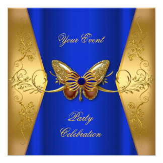 Elegant Any Event Party Royal Blue Gold Butterfly Invite