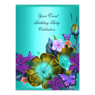 Elegant Any Event Party Teal Purple Gold Flowers Personalized Announcements