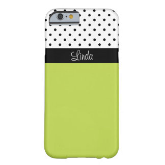 Elegant Apple Green, Black & White Polka Dots Barely There iPhone 6 Case