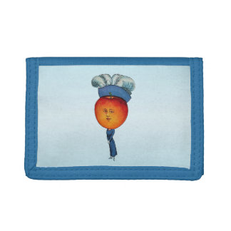 Elegant Apple Head Lady Feather Hat Trifold Wallet