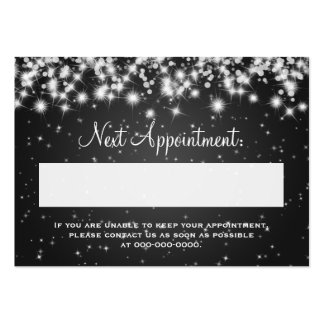 Elegant Appointment Card Winter Sparkle Black Large Business Cards (Pack Of 100)