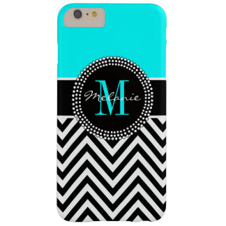 Elegant Aqua and Black Chevron Monogrammed Barely There iPhone 6 Plus Case