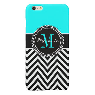 Elegant Aqua and Black Chevron Monogrammed Glossy iPhone 6 Plus Case