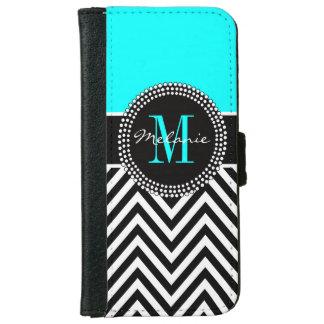 Elegant Aqua and Black Chevron Monogrammed iPhone 6 Wallet Case