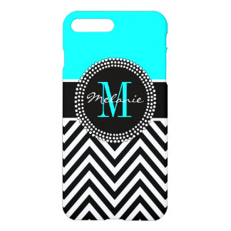 Elegant Aqua and Black Chevron Monogrammed iPhone 7 Plus Case