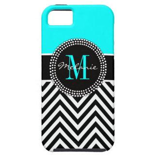 Elegant Aqua and Black Chevron Monogrammed iPhone SE/5/5s Case