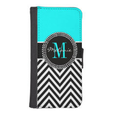 Elegant Aqua and Black Chevron Monogrammed iPhone SE/5/5s Wallet Case at Zazzle