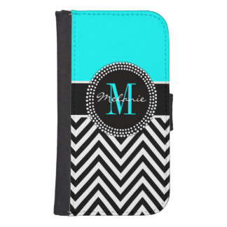 Elegant Aqua and Black Chevron Monogrammed Wallet Phone Case For Samsung Galaxy S4