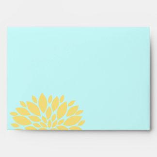 Elegant Aqua and Light Yellow Floral Burst Envelopes