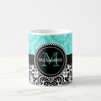 Elegant Aqua Black Damask Personalized Coffee Mug
