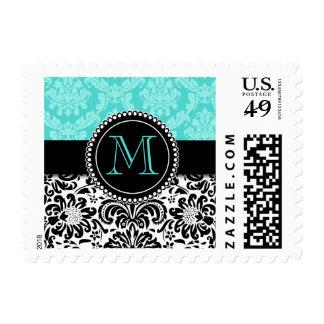 Elegant Aqua Black Damask Personalized Stamp