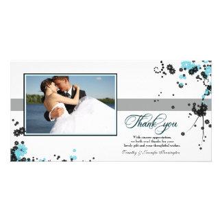 Elegant aqua + black flowers wedding thank you personalized photo card