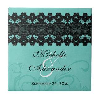 Elegant aqua black lace personalized wedding favor ceramic tile