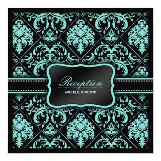 Elegant Aqua Blue and Black Damask Reception Only 5.25x5.25 Square Paper Invitation Card