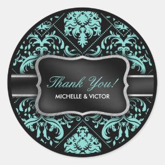 Elegant Aqua Blue and Black Damask Thank You Classic Round Sticker
