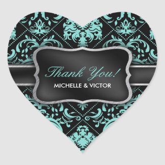 Elegant Aqua Blue and Black Damask Thank You Heart Sticker