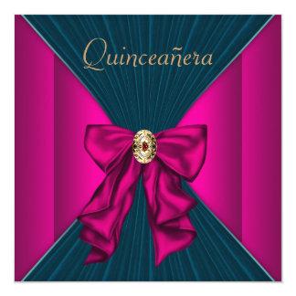Elegant Aqua Blue and Hot Pink Quinceanera Card