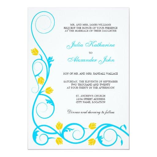 "Elegant Aqua Blue and Yellow Swirls Invitation 5"" X 7"" Invitation Card"