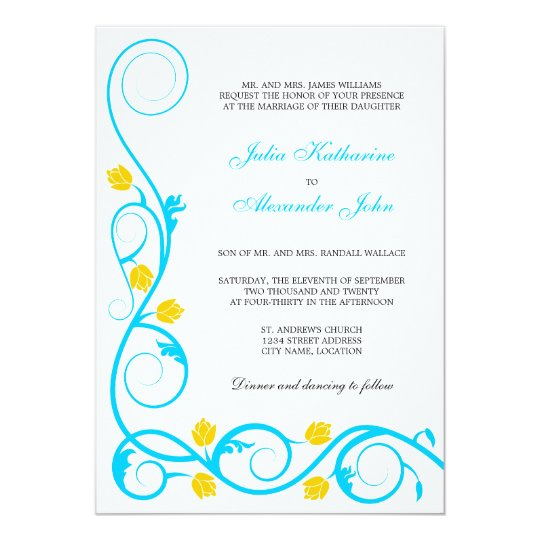 Elegant Aqua Blue and Yellow Swirls Invitation