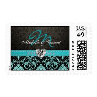 Elegant Aqua Blue / Black Damask Monogram Stamps