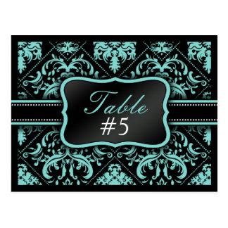 Elegant Aqua Blue & Black  Damask Table Number Postcard