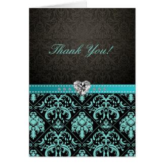 "Elegant Aqua Blue / Black Damask ""Thank You"" cards"