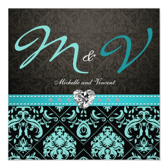 elegant aqua blue black damask wedding invites - Damask Wedding Invitations