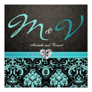 Elegant Aqua Blue / Black Damask Wedding Invites