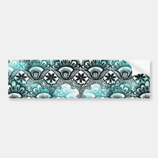 Elegant Aqua Blue Black Faded Distressed Damask La Bumper Sticker