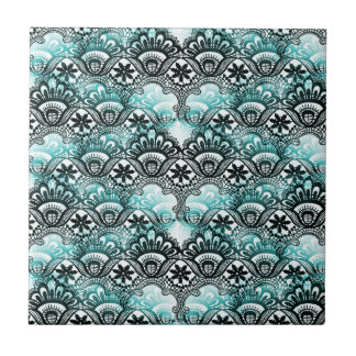 Elegant Aqua Blue Black Faded Distressed Damask La Small Square Tile