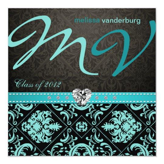Elegant Aqua blue Class of 2012 Graduation Invites