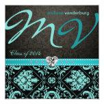 Elegant Aqua blue Class of 2014 Graduation Personalized Announcement