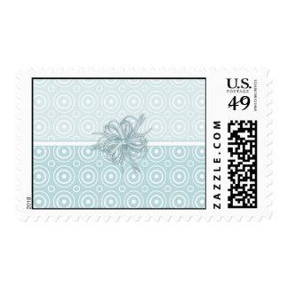 Elegant Aqua Blue Customizable Card (2) Postage Stamp