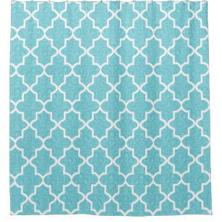 Elegant Aqua Blue Damask Moroccan Pattern Shower Curtain
