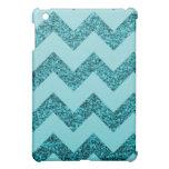 Elegant Aqua Blue Glitter Chevron iPad Mini Case