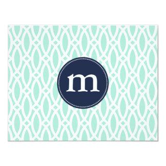 Elegant Aqua Blue Modern Trellis Personalized 4.25x5.5 Paper Invitation Card