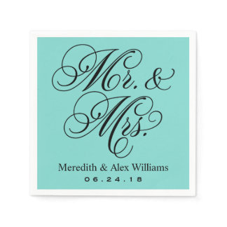Elegant Aqua Blue Mr. and Mrs. Wedding Monogram Napkins
