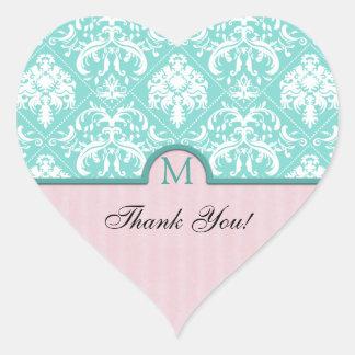 Elegant Aqua Blue & Pink Damask Thank You Heart Sticker