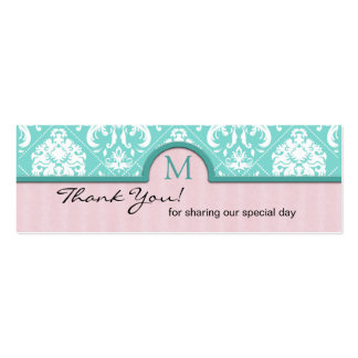 Elegant Aqua Blue & Pink Damask Thank You Tags Double-Sided Mini Business Cards (Pack Of 20)