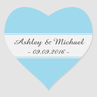 Elegant Aqua Blue Save the Date Heart Sticker