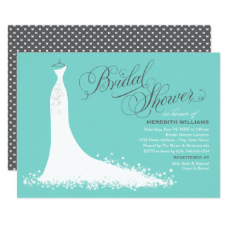 Elegant Aqua Blue Wedding Gown Bridal Shower Invitation