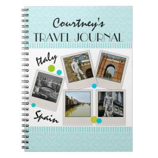 Elegant Aqua Damask Travel Journal and Photos Spiral Note Books