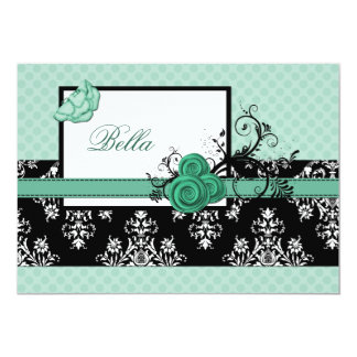 elegant aqua floral  Business Thank You Cards Personalized Invitations