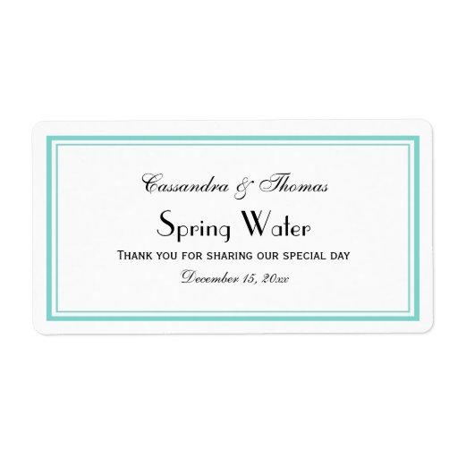Elegant Aqua Framed H Water Bottle Label
