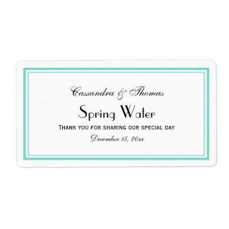 Elegant Aqua Framed H Water Bottle Label Shipping Label