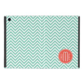 Elegant Aqua Green Chevron and Orange Monogram Case For iPad Mini