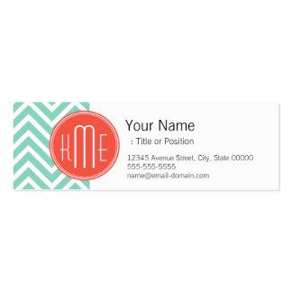 Elegant Aqua Green Chevron and Orange Monogram Mini Business Card