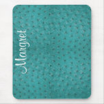 Elegant Aqua Ostrich Leather Look Mouse Pad