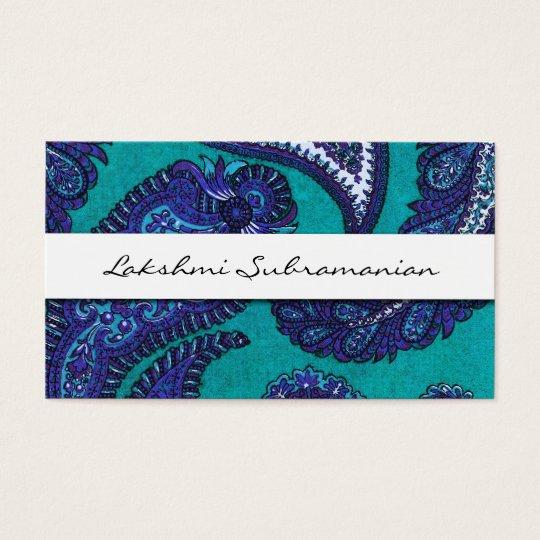 Elegant Aqua Paisley Professional Business Cards