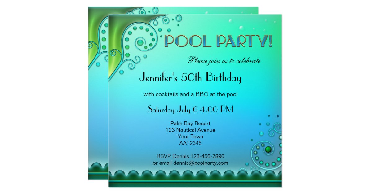 Pool Party Invitations Announcements – Pool Party Invite